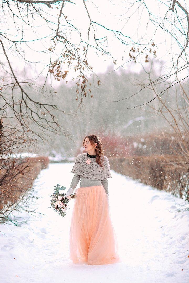 Peach wedding dress and grey knitwear cardigan | fabmood.com #wedding #winterwedding #outdoorwedding #snow #bride #weddingdress #peach