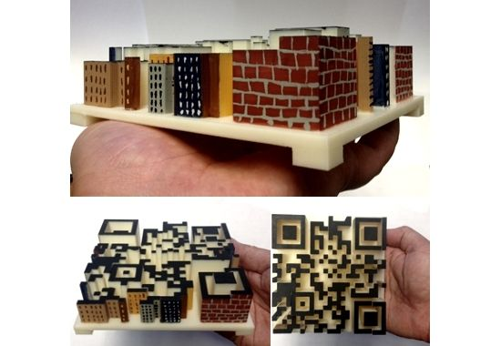 3D Printed City that is really a QRCode -- I like this idea of sneaking in a QR foundation under a house model