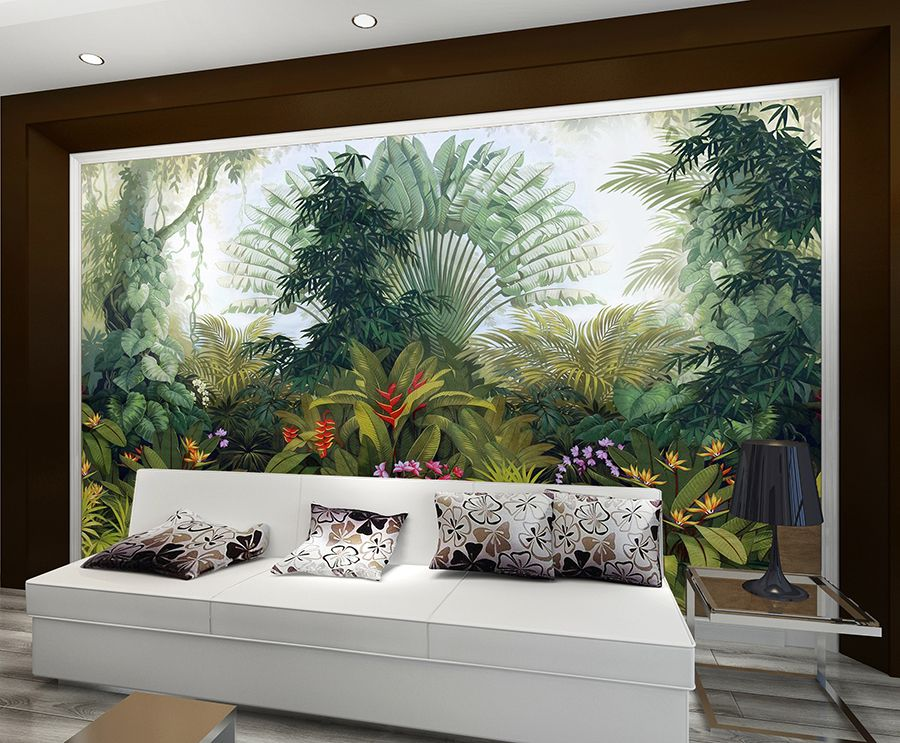 Vert Bambou Forêt Paysage Papier Peint Photo Art Mural pré-collé Autocollant