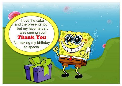 Sponge Bob Thank You Cards Birthday Printable