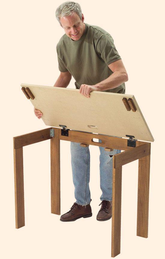 DIY Folding Shop Table