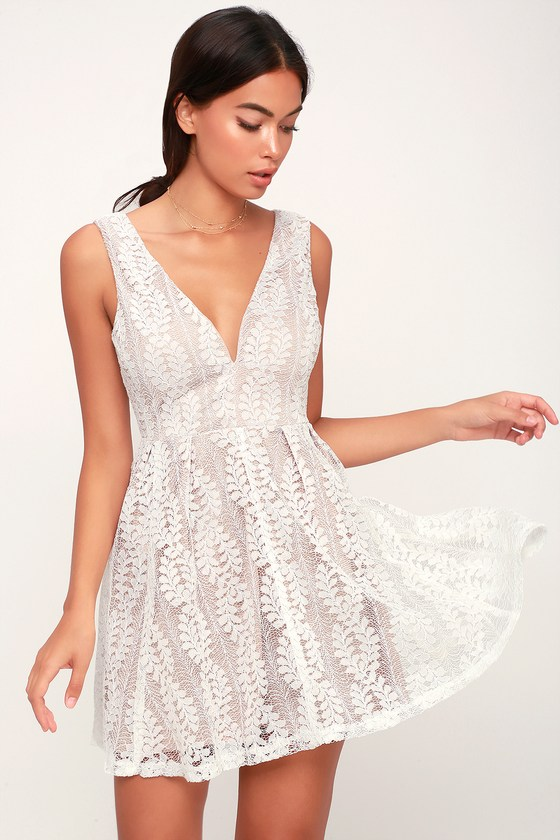 8cb8cdd9 All of My Heart White Lace Skater Dress | dresses