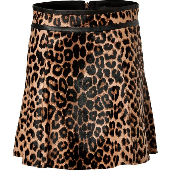 A.L.C. Natural Leopard Print Haircalf Davis Skirt ($960) ❤ liked on Polyvore