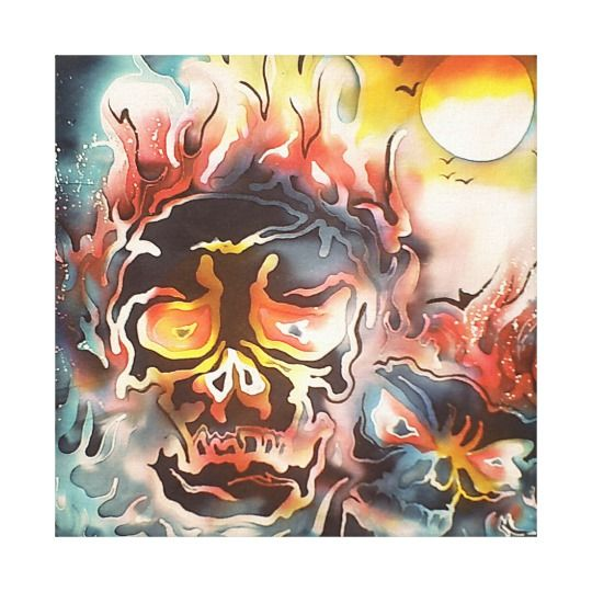 flaming skull abstract art canvas print