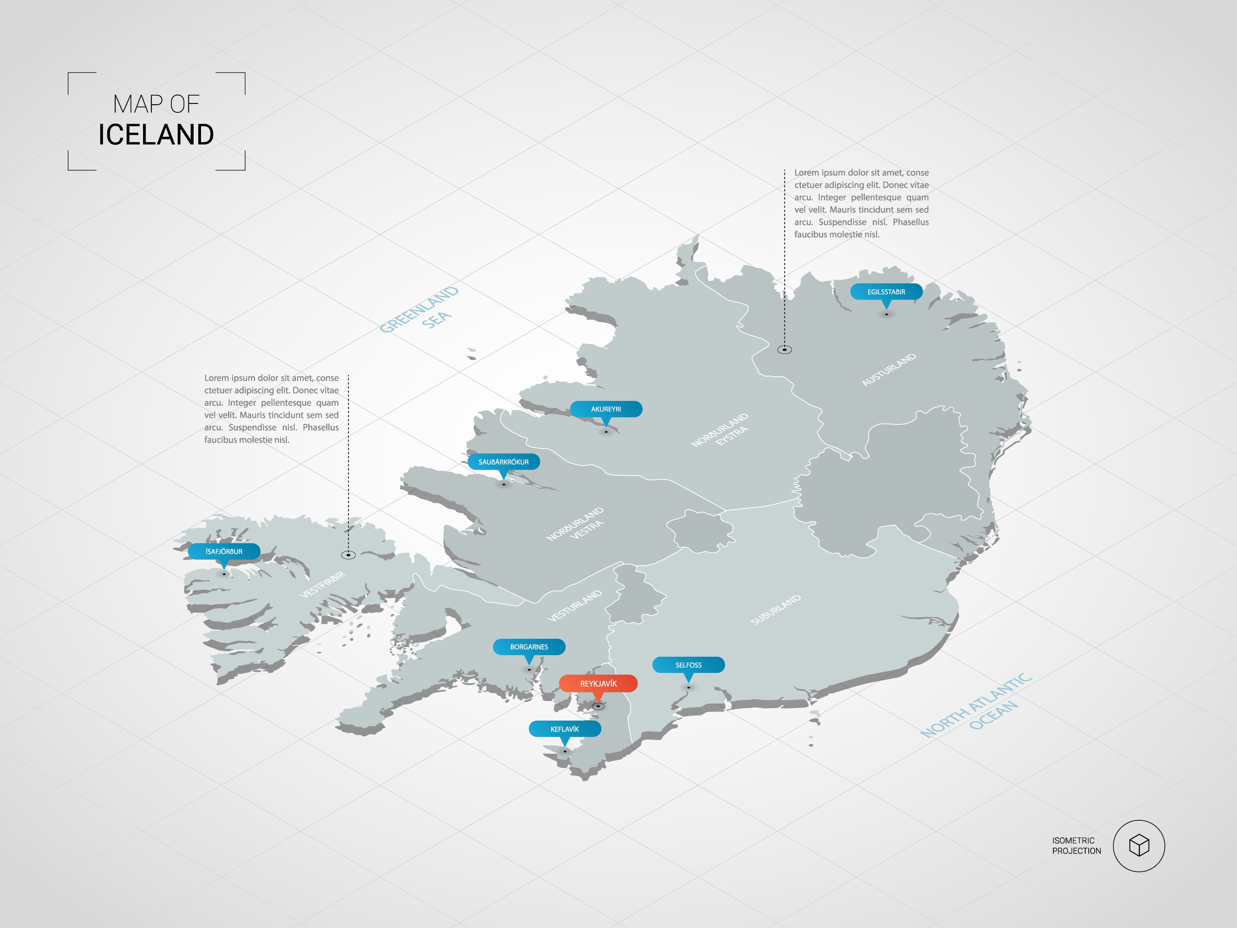 Isometric 3D Iceland map. Stylized vector map illustration with ...