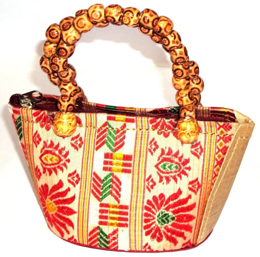 4bfd5415eab0 Muga Silk designer Ladies Handbag with beads handle
