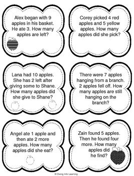 Word Problems: Apple Theme (First Grade) (With images