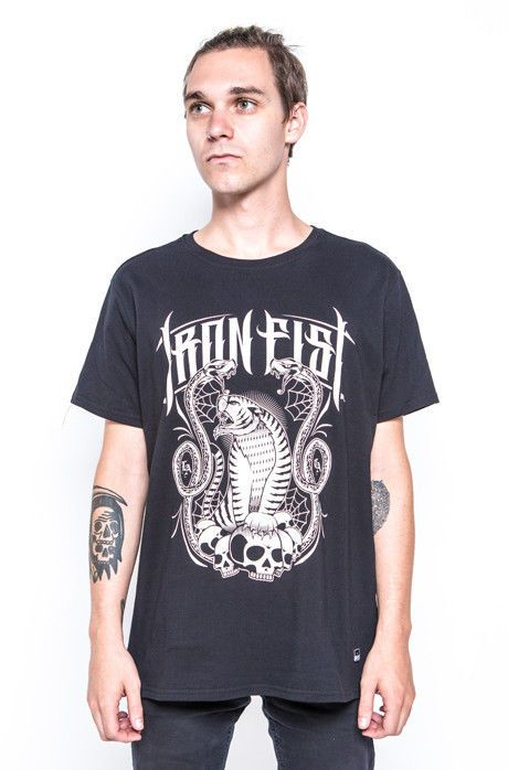 Iron Fist Tiger Strike Tee Mens Graphic Tiger Snake & Skulls Black T-shirt #IronFist #GraphicTee