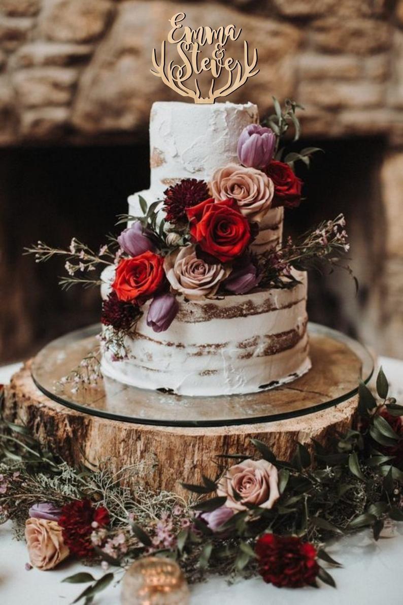 Cake topper for wedding, deer antlers cake topper,