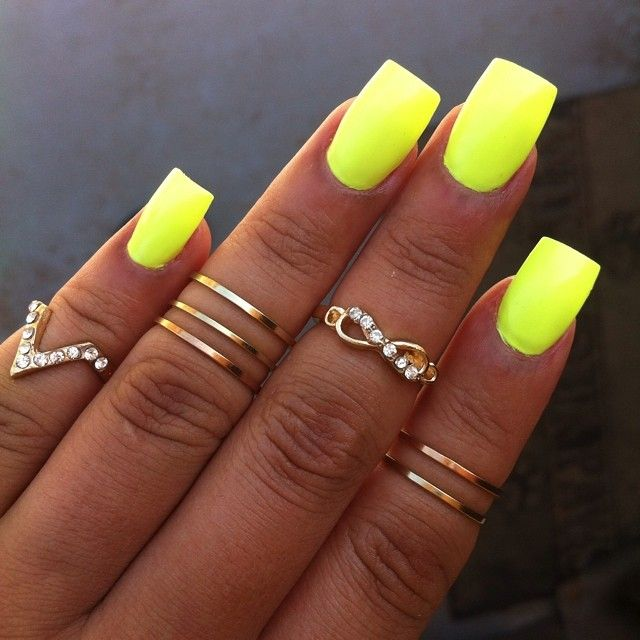 Neon Yellow Nailidrings Summer Nails