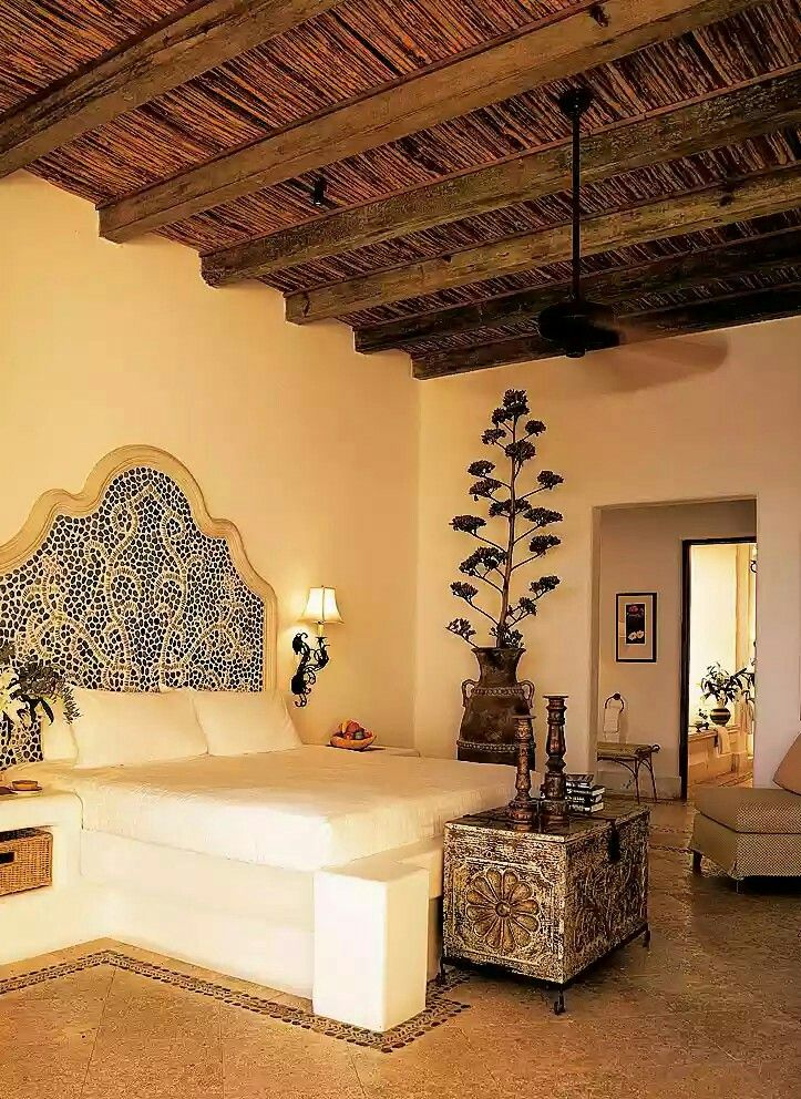 unique spanish style bedroom design. Spanish Style Bedroom With Unique Dried Century Plant Flower Stem In A Tall Pot. Design C