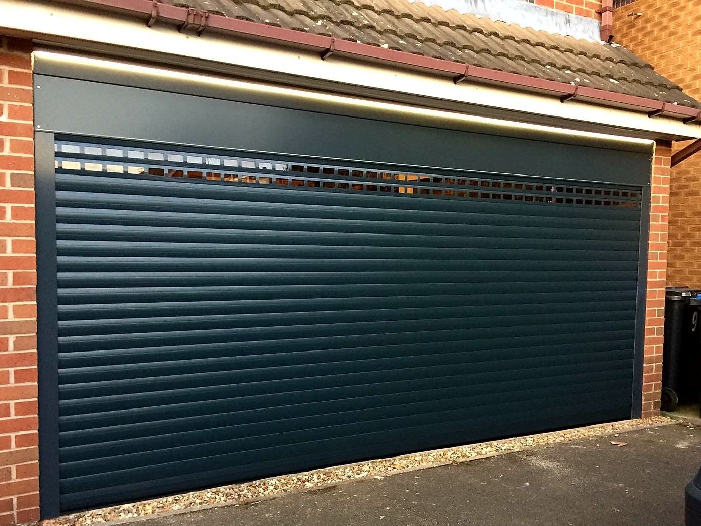 Allguard 77 Roller Door With Vision Laths Anthracite Grey Roller Doors Garage Doors Garage Door Insulation