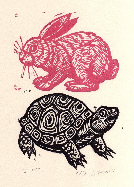 Серпантином, линогравюра картинки животные