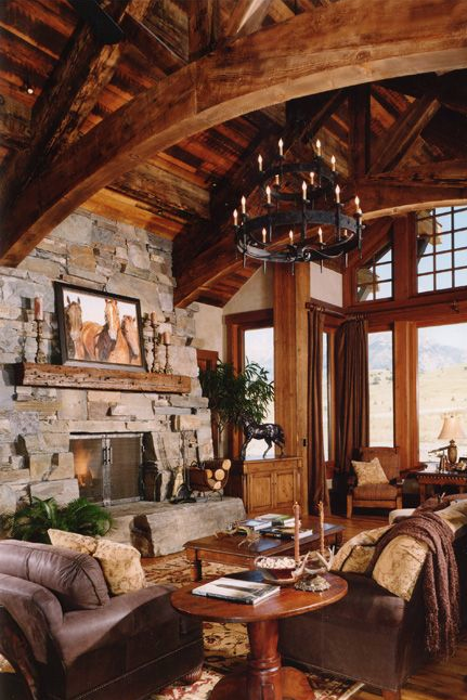 I like the curves in the beams on the ceiling not that - Lodge living room decorating ideas ...