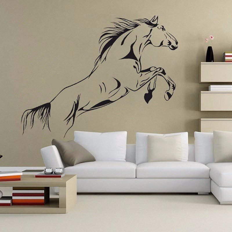Sticker Mural Deco Saut De Cheval Wall Stickers Living Room Horse Themed Bedrooms Wall Stickers Home Decor