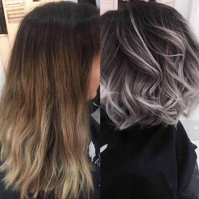 Mechas color gris en pelo corto