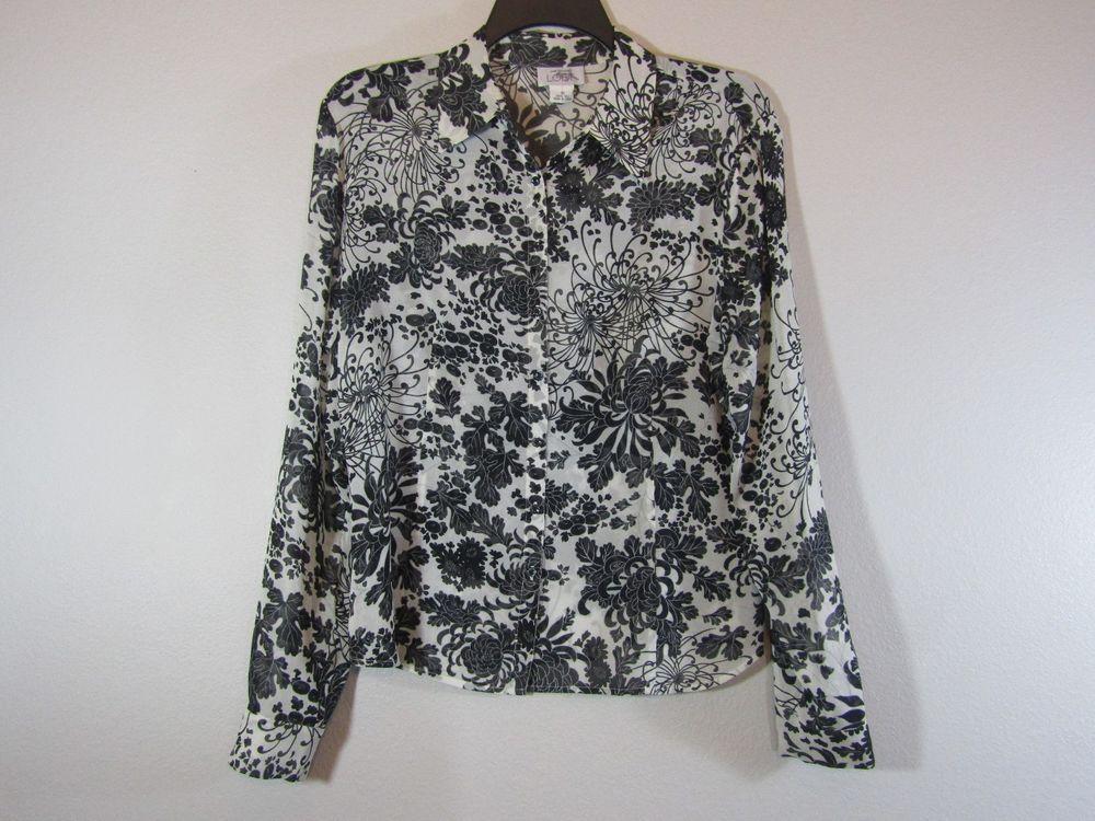 fd05b423a Ann Taylor Women's 100% Silk Blouse Top Sz 10 Black & White Floral Print # AnnTaylor #Blouse