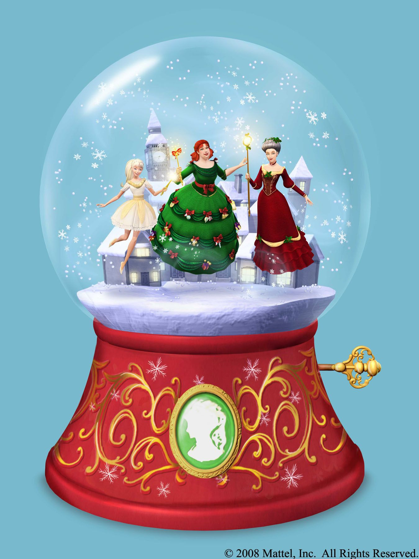 Christmas Snow Globe with Three Spirits of Christmas Past