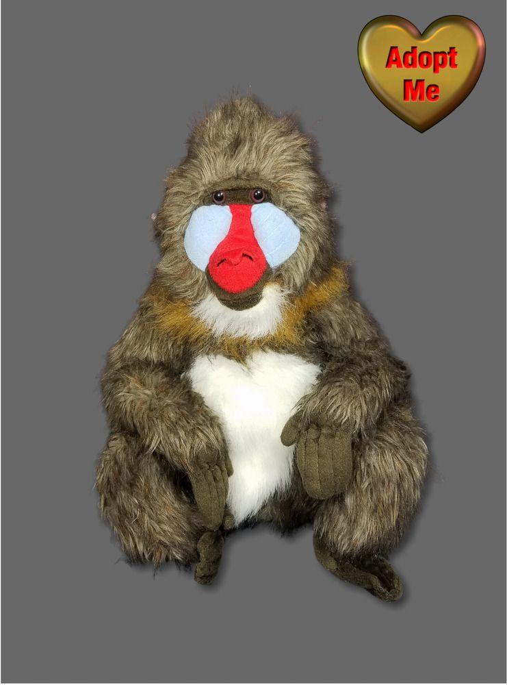 K M International Mandrill Monkey Baboon Stuffed Plush Safari