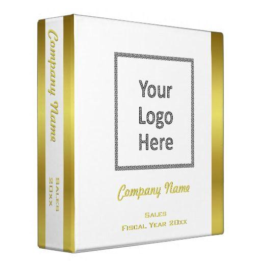Modern Elegant Gold Foil Business Logo Custom Binder