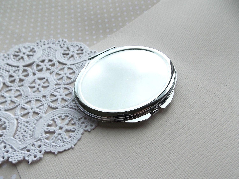 Oval DIY Craft Silver Compact Mirror. $4.00, via Etsy.
