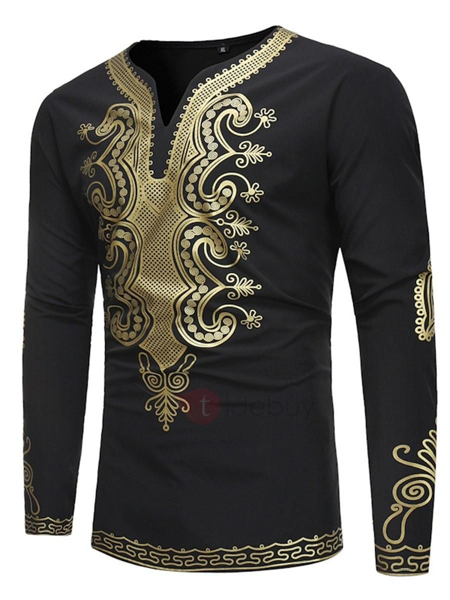 Fashion African Style Printed Long Sleeve Top T-Shirt Round Neck Mens Shirt New