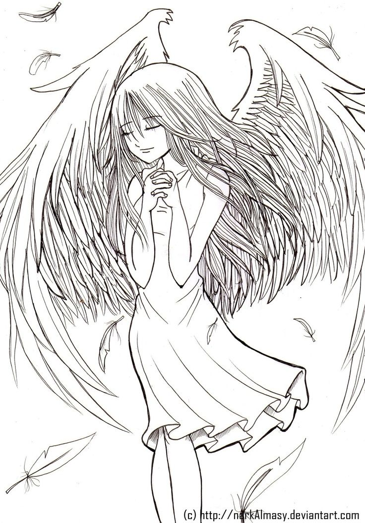 Pingl par g orgina kincaid sur coloriages ange et d mons pinterest anges art th rapie et - Dessin manga ange ...
