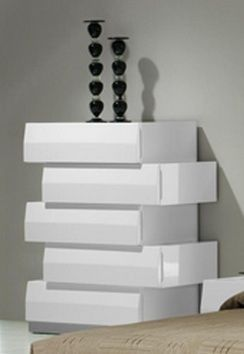 649 Milan Modern 5 Drawer Chest In White Lacquer Finish 800 656 8121