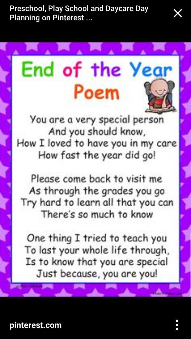 Child leaving poem | Teacher | Preschool education