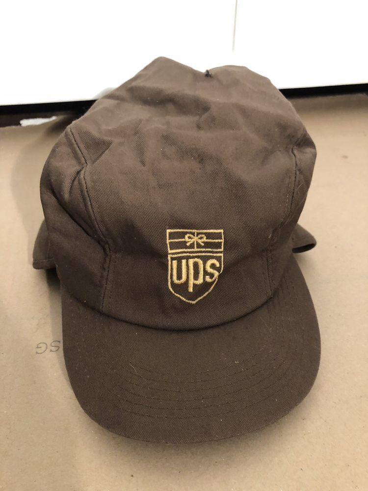 UPS Brown Winter Hat Cap Faux Fur Ear Flaps United Parcel Service Large L   fashion d09f50afc23