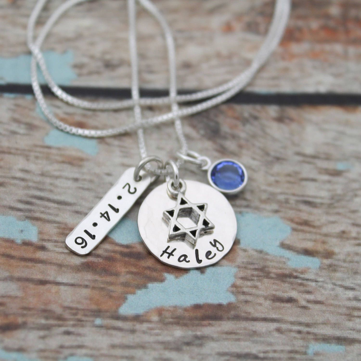 Bat mitzvah necklace with date and birthstone