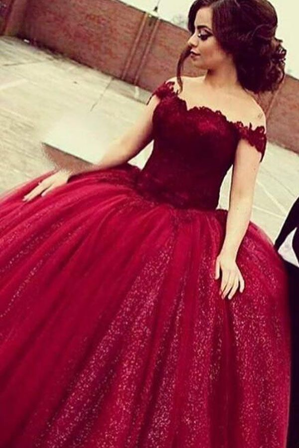 0c3cd9915714 Glamorous Off Shoulder Floor-Length Sequins Wine Prom Dress With ...