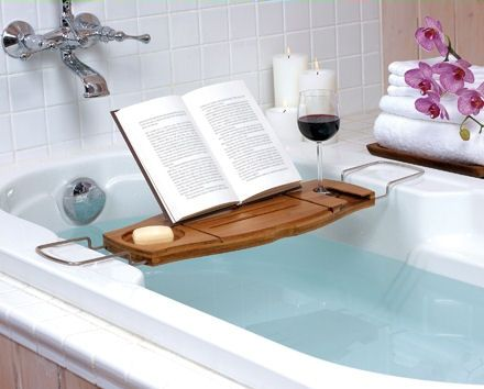 wooden bath caddy with book rest and wine glass holder | cool ...