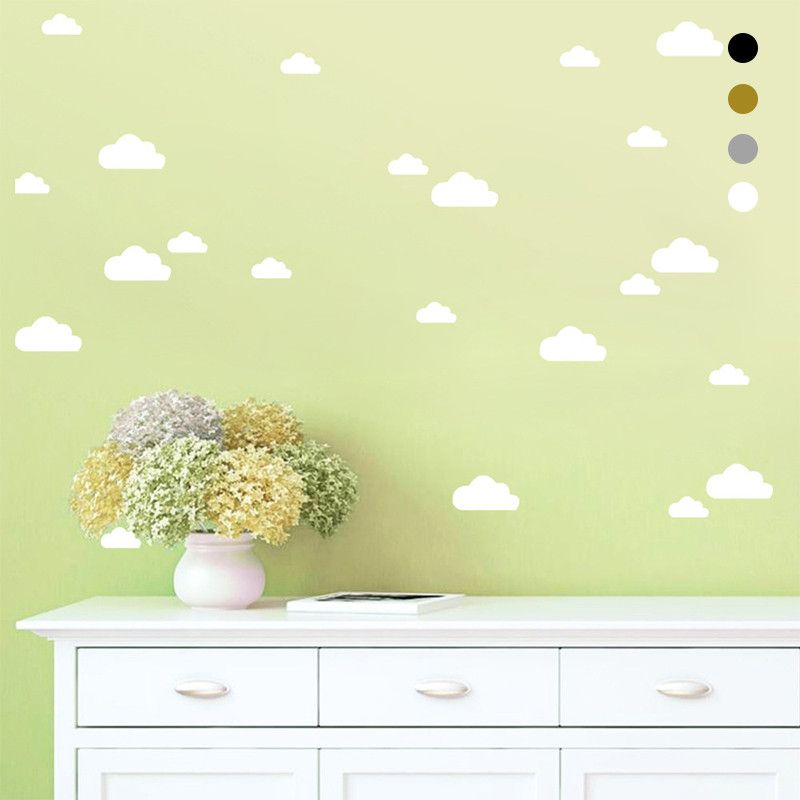 56Pcs/set White Clouds Wall Stickers Removable DIY Vinyl Baby Wall ...