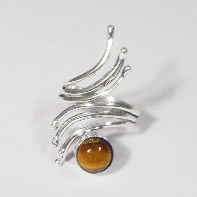 Amazing Design  _ Tiger Eye Stone 925 Sterling Silver Overlay Adjustable Ring #VKSilvexJaipur #Ring