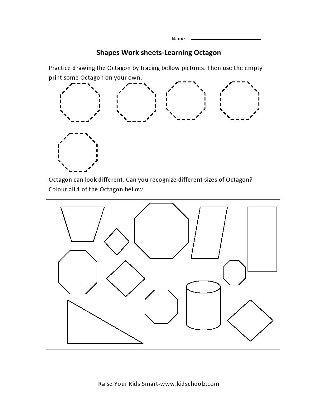 octagon worksheets for preschoolers octagon shape worksheet http