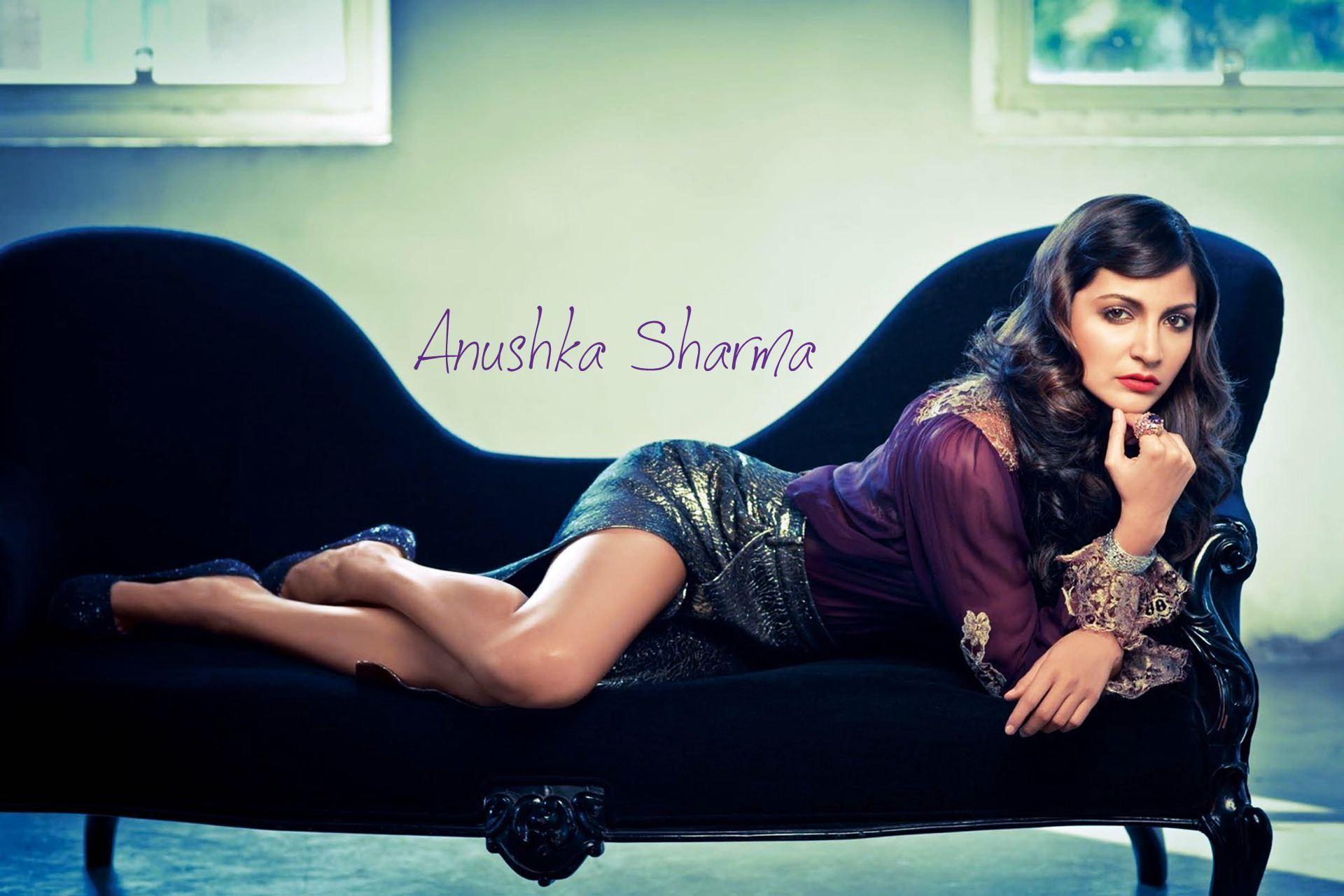 Anushka Sharma Hot Black Lingerie GQ Photoshoot Wallpaper