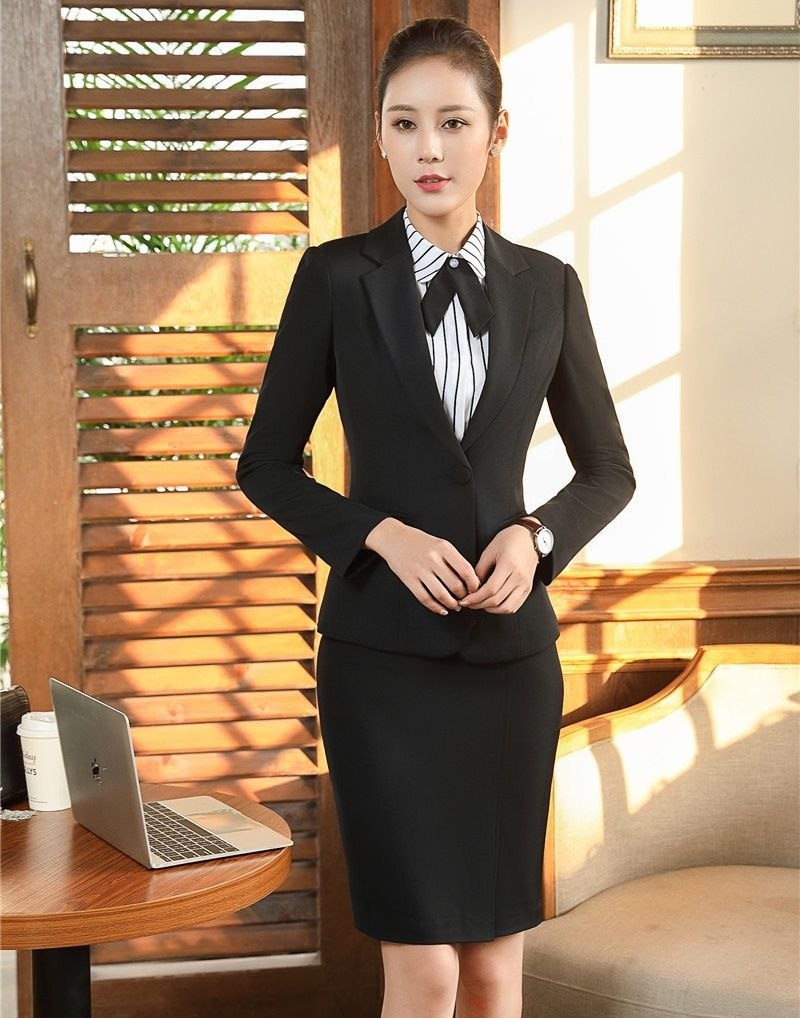 AidenRoy Formal Black Blazer Women Skirt Suits Ladies Business Suits Office  Uniform Styles Elegant efc4c5b46d7