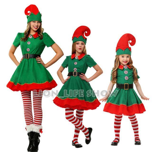 Gloednieuwe Vrouwen Kerst Halloween Kostuum Lange Mouwen Groen En