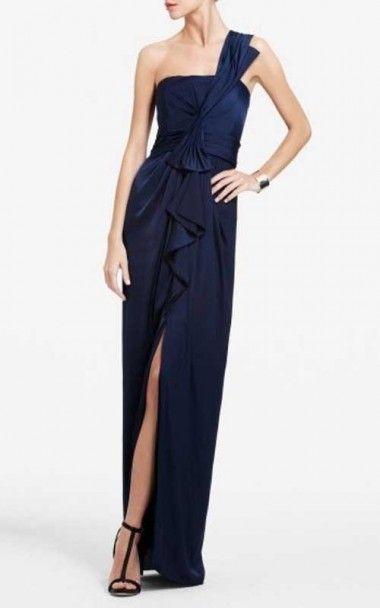 Bcbg Barbara One Shoulder Satin Evening Gown Navyoutlet