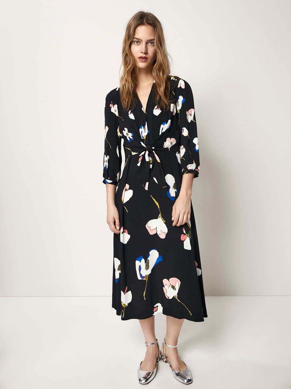 37c00e18f82 FLORAL PRINT DRESS WITH KNOT DETAIL - Women - Massimo Dutti Упаковка Платья