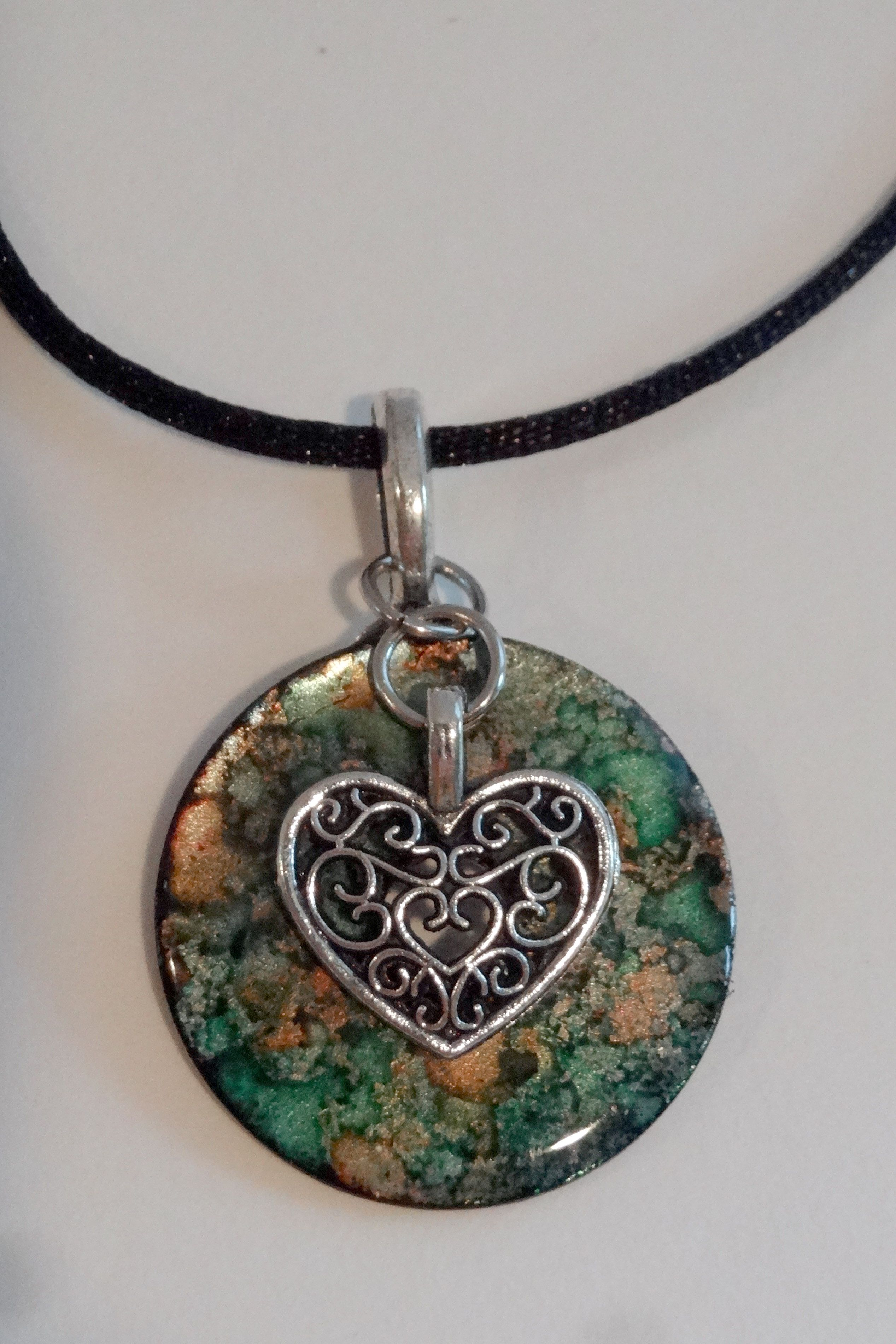 Alcohol ink washer pendant with filigree heart charm created by c alcohol ink washer pendant with filigree heart charm created by cryan aloadofball Choice Image