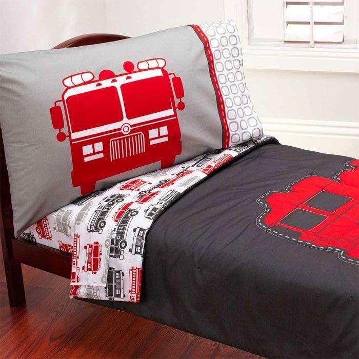 Firetruck 4 Piece Toddler Bedding Set