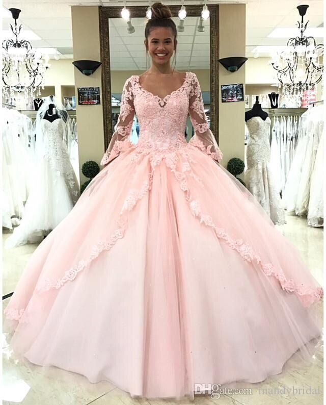 2018 Elegant Lace Quinceanera Dresses Pink Long Sleeves Masquerade ...