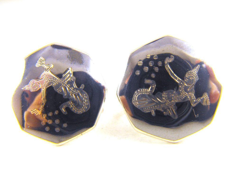 Siam Silver Earrings Classic Goddess Mekkala Motif Vintage Nielo Nielloware Screw Back Style Signed by hipcricket on Etsy