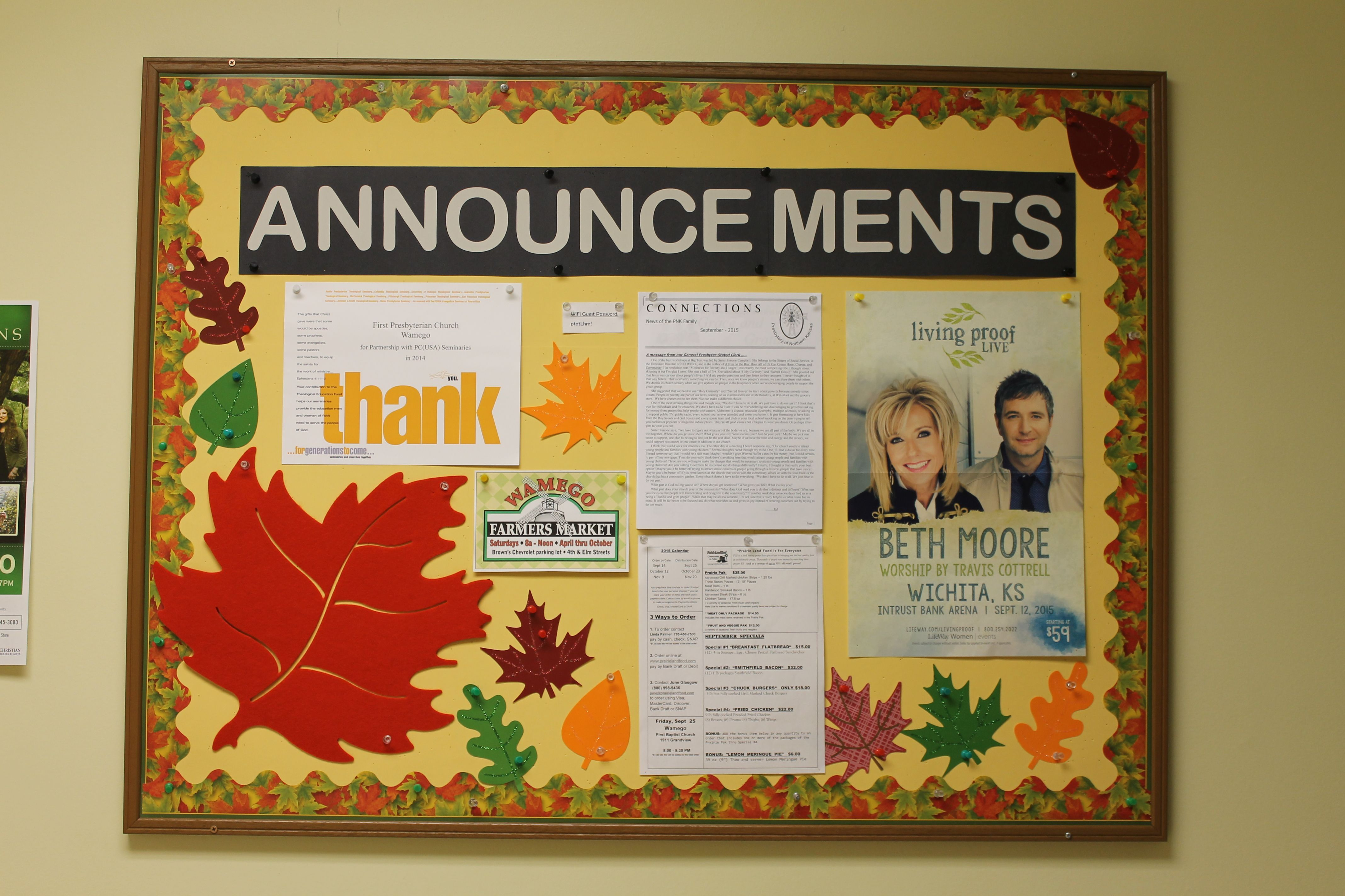 Ideas For Announcement Boards : Sept church announcements my bulletin boards