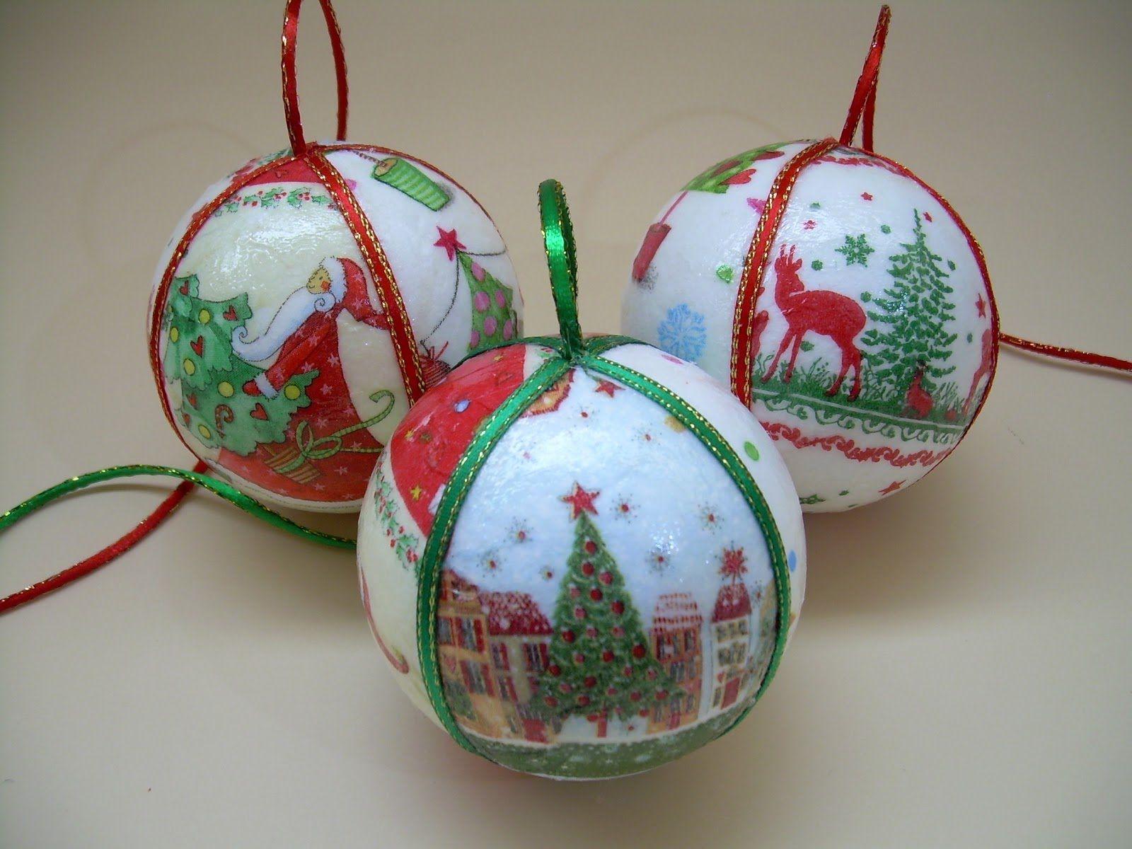 Diy navidad esferas navide as con servilletas manualidades navidad pinterest esferas - Manualidades bolas de navidad ...