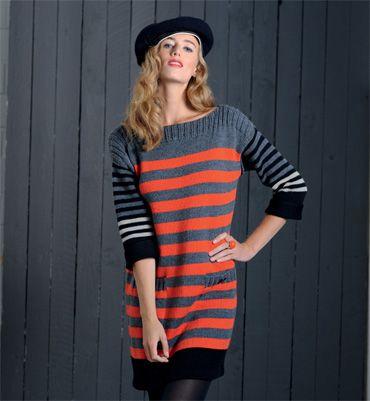 b45611b1c7807c Modèle robe rayée graphique femme   knit - örgü   Tricot robe pull ...