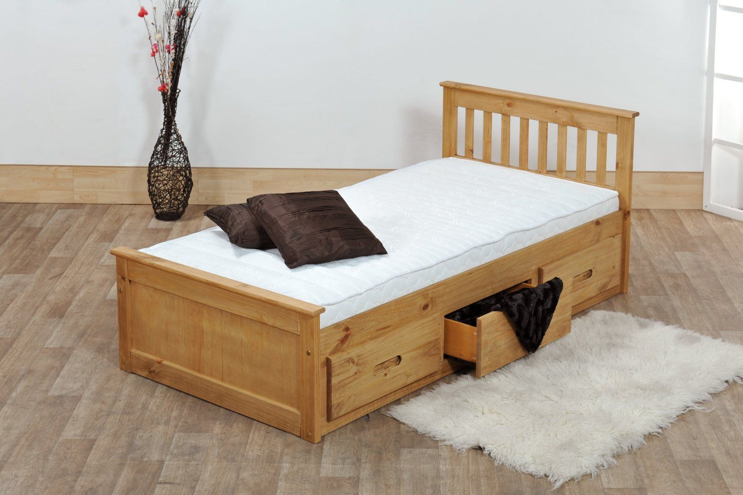 Superior 3ft Single Captain Cabin Storage Solid Pine Wooden Bed Bedframe   Waxed  Pine Finish (Made