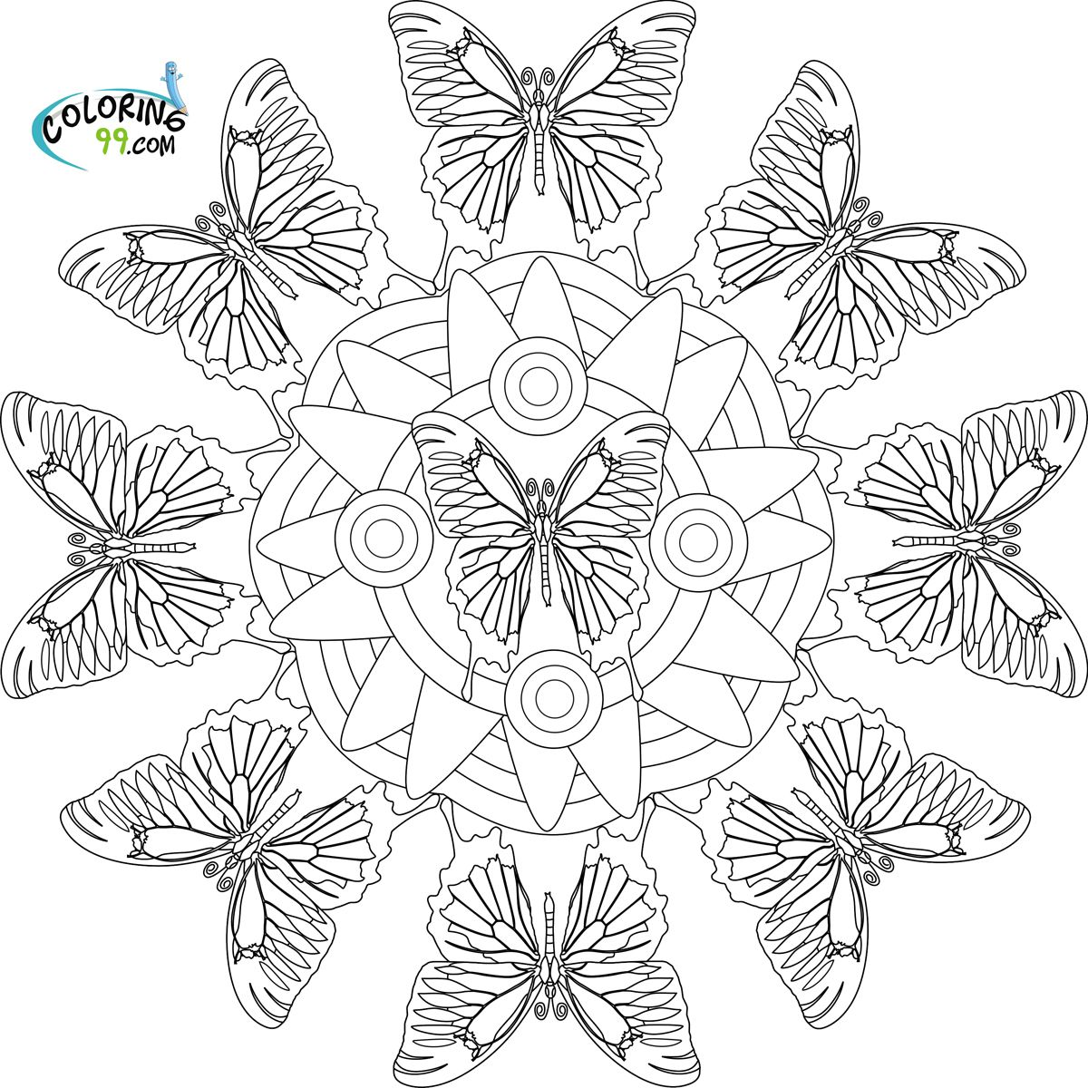 Abstract Coloring Pages | butterfly mandala coloring pages ...
